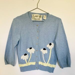 Anthropologie Field Flower blue cardigan